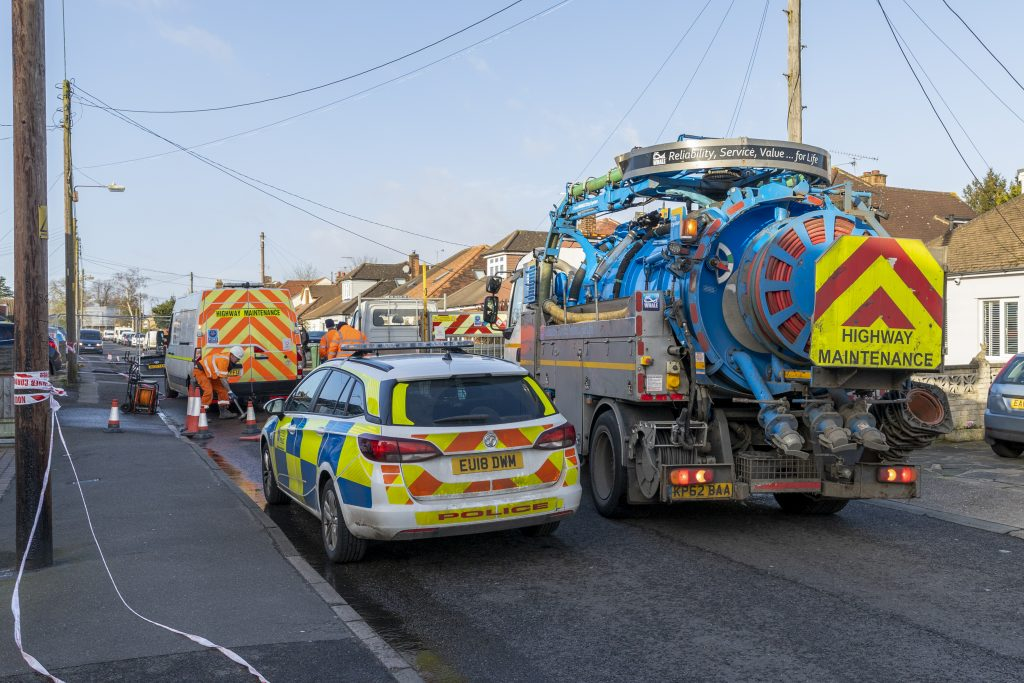 Police attend sink hole incident in Brentwood Essex