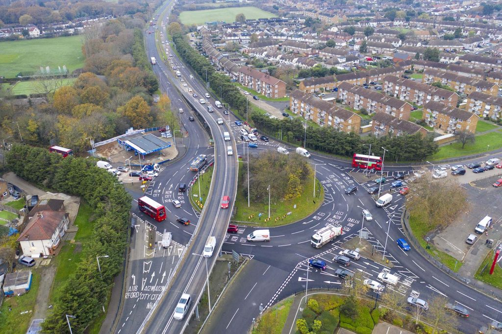 Drone photograph of Gallows Corner roundabout in Essex
