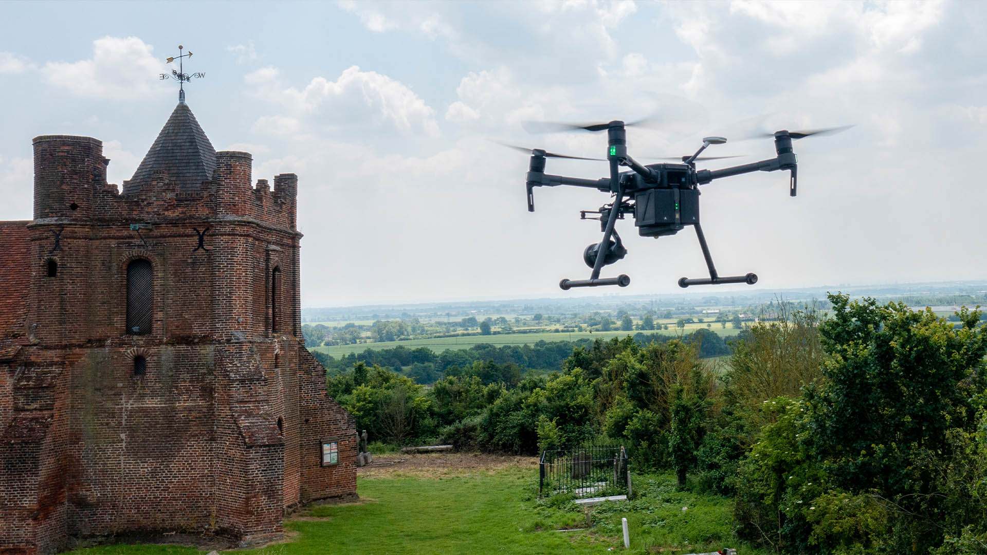 RMC drone performing aerial modelling of church