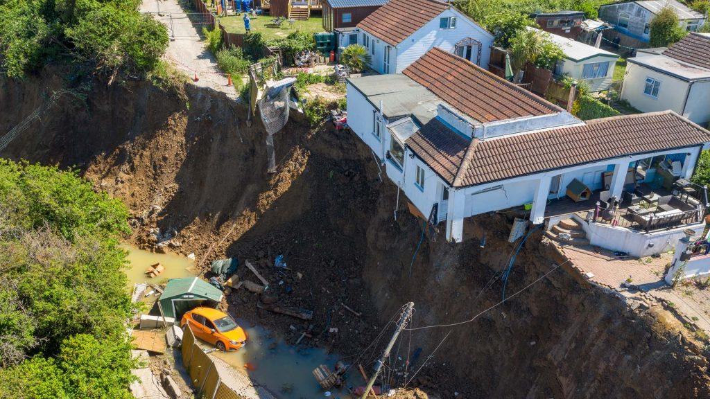 Drone photograph of cliff collapse in Eastchurch, Essex by RMC Surveys & Inspections Ltd